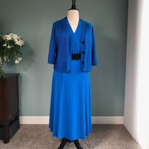 Jones New York blue dress with belt and cardigan